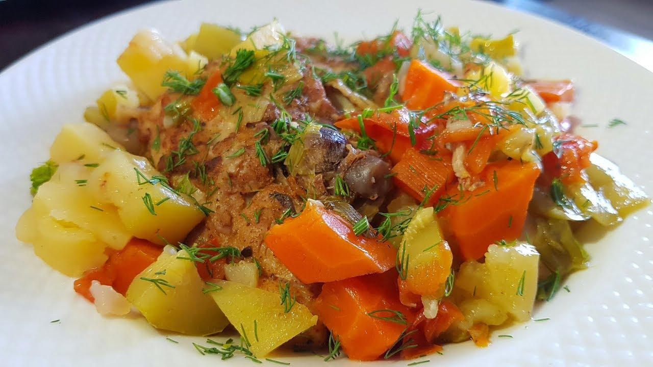 Тушеная картошка с курицей в мультиварке с овощами